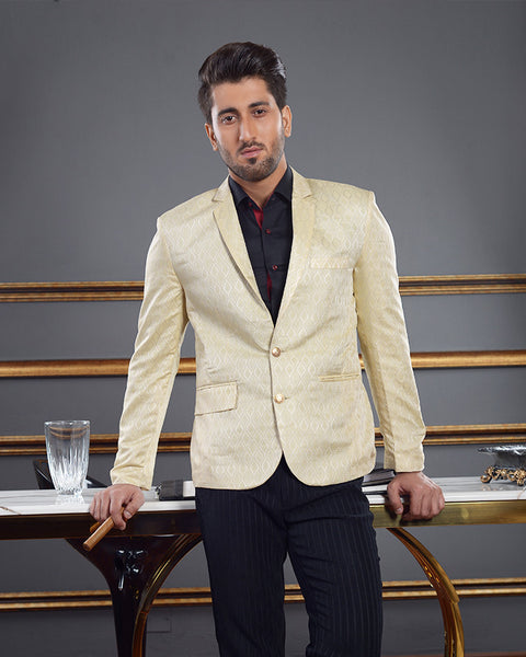 Men Printed Blazer Coat With Cream Base and Beige Print for Men
