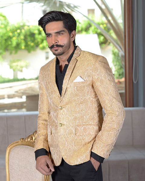 Men Printed Blazer Coat in Beige Base with Gold Print for Men