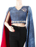 March Random Acid Washed Embellished Denim Crop Top with Wings Sleeves for Women