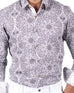 March Grey Ink Pattern Buttondown Shirt W Brown Buttons for Men