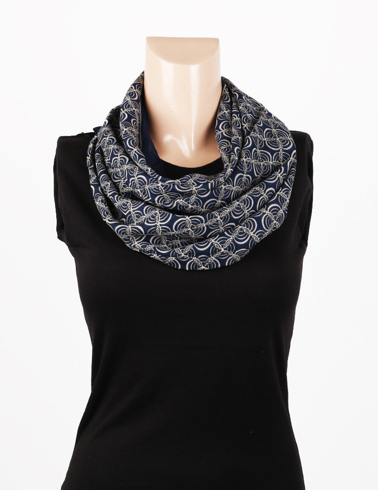 Nurai Silk Optical Printed Scarf - Navy Blue