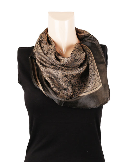 Nurai Silk Optical Printed Scarf - Chocolate