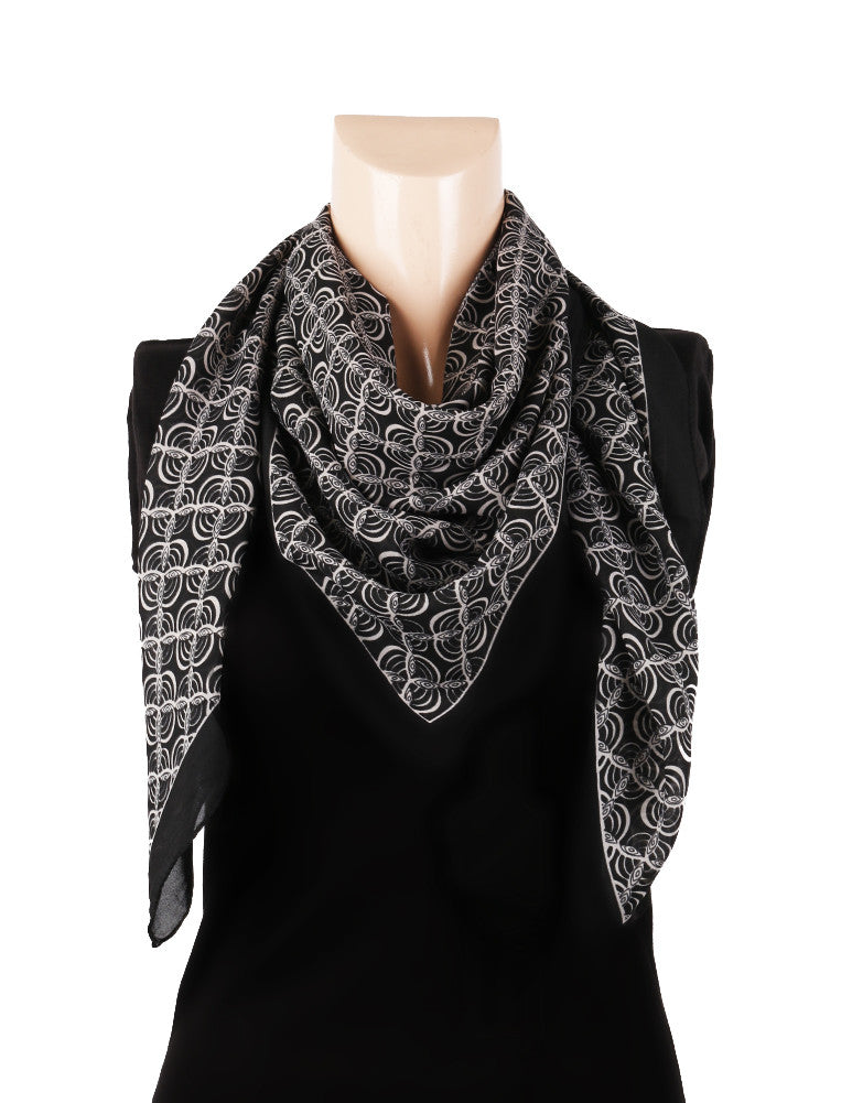Nurai Silk Optical Printed Scarf - Black