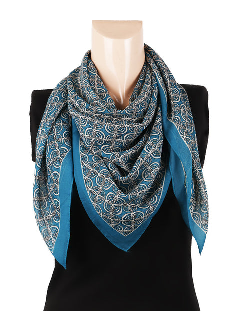 Nurai Silk Optical Printed Scarf - Sea Green