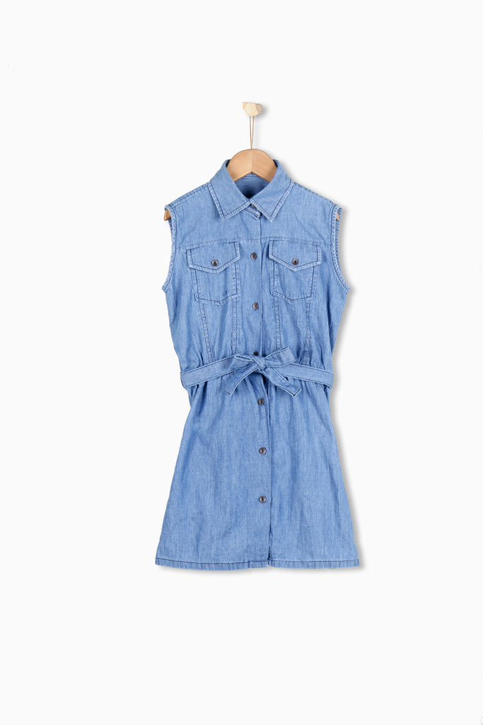 Nurai Medium Blue Denim Frock W/ String on Waist For Girls