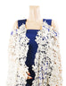 March Ink Blue Denim Jumpsuit with White Floral Cape