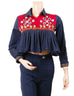 March Navy Blue Denim Embellished Baby Peplum Top for Women