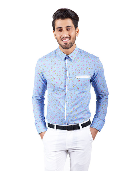 March Blue Floral Cotton Buttondown Shirt W Cream Contrast & Front Pocket for Men