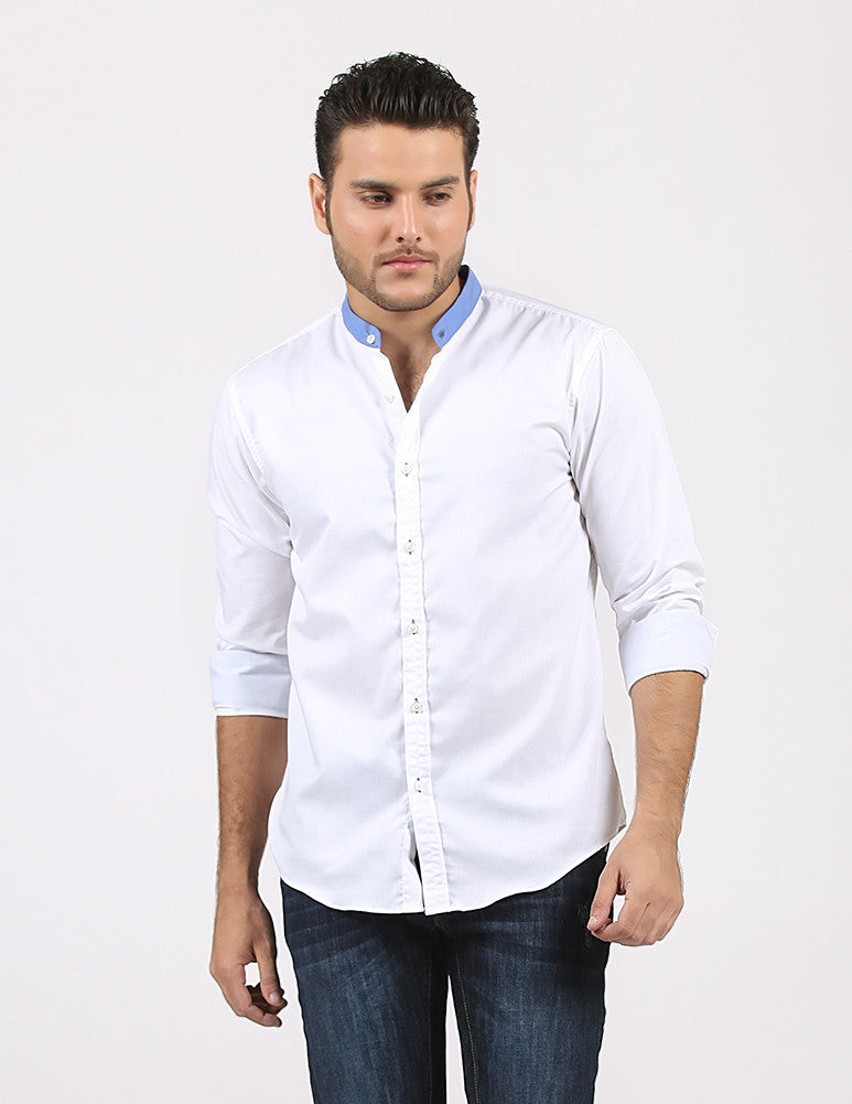 March White Plain Cotton Shirt W Blue Band Collar for Men