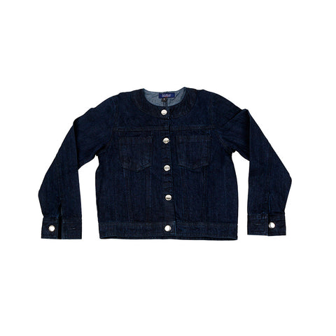 Dark Blue Denim Jacket W Round Neck & Silver Buttons for Girls