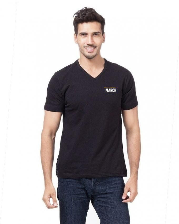March Black V-neck Soft Cotton T-shirt  for Men
