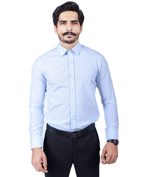March Powder Blue w/ Navy Polka Dots Shirt for Men