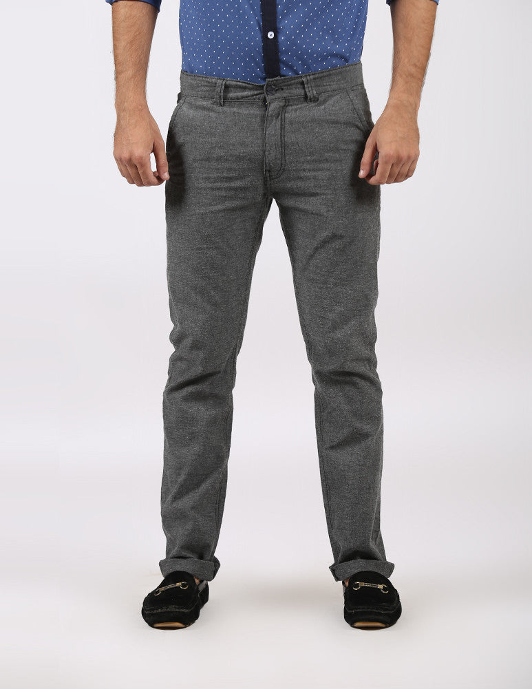 Dark Grey Casual Soft Linen Trousers