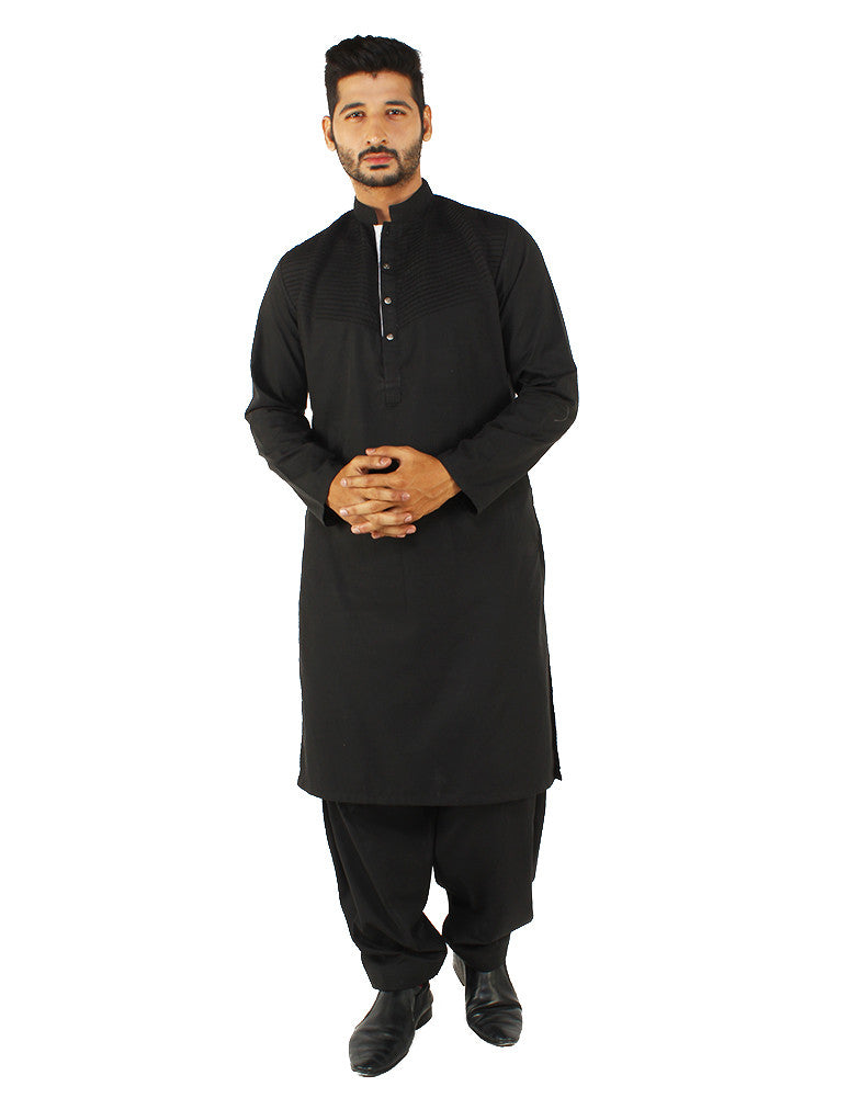 March Black Cotton Kurta W Pleated Front & Shalwar for Men