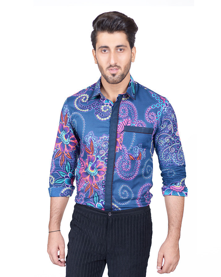 March Sea Green Floral Printed Shirt