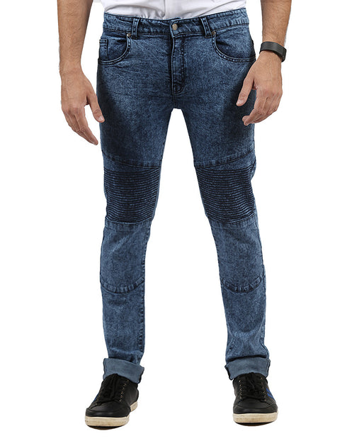 Dark Blue Biker Jeans With Ribs & Acid Wash for Men