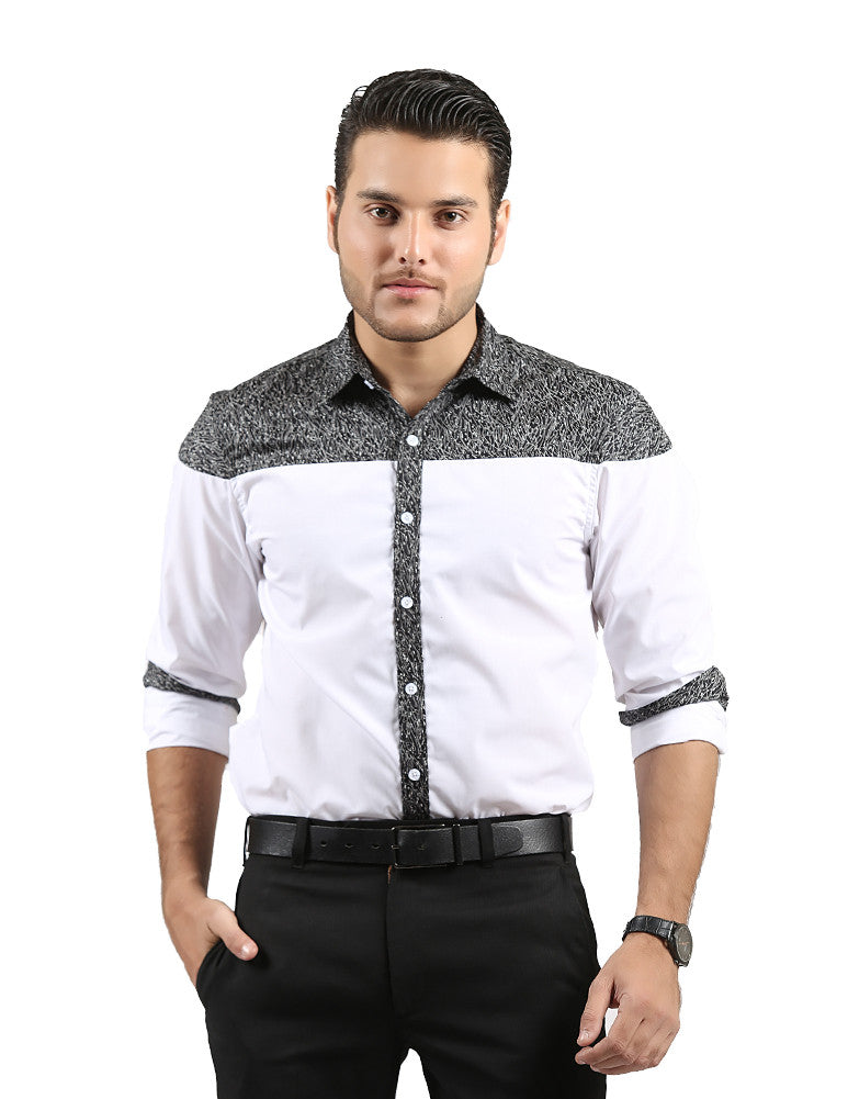 March Dual-Tone White Monochrome Shirt with Dips for Men