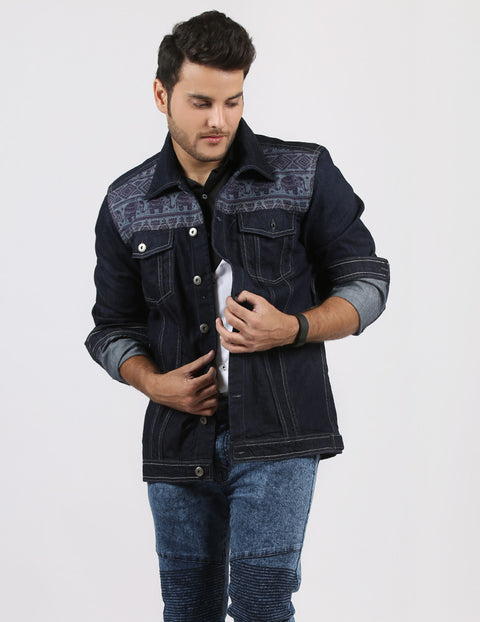 Denim Jacket with Elephants on Yoke for Men