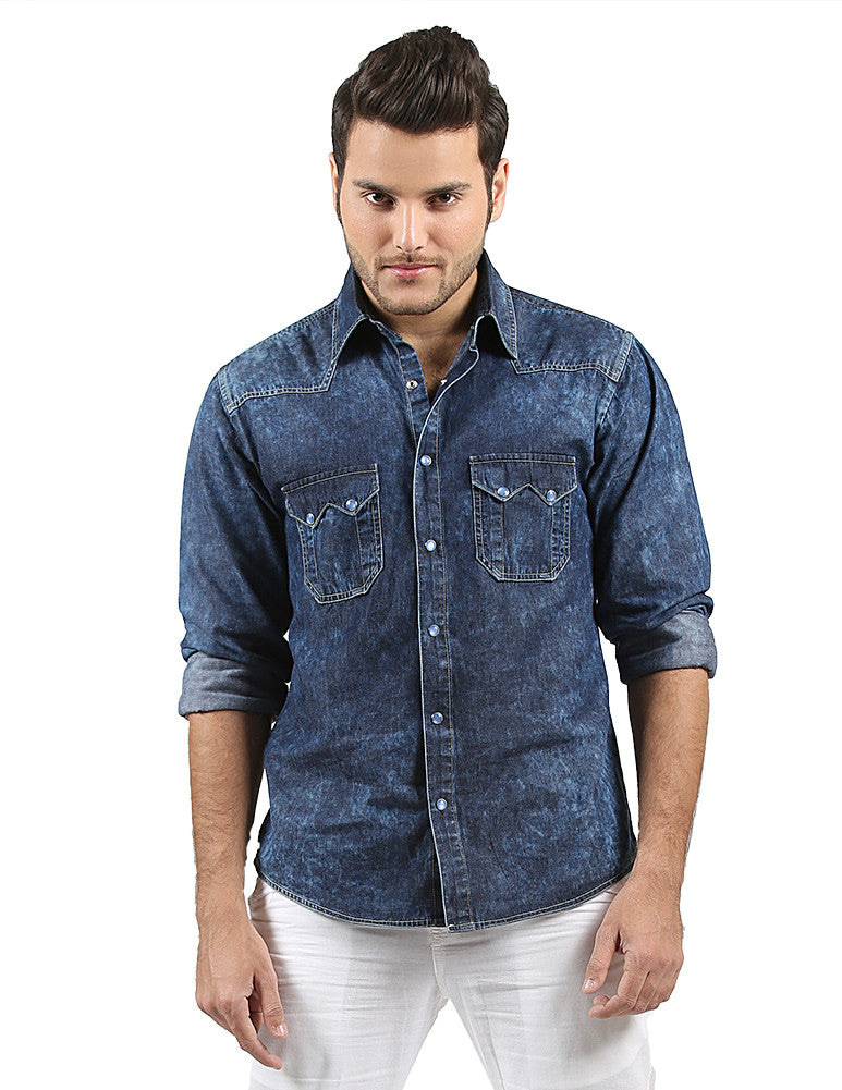 1bbfee18831 March Dark Blue Random Wash Denim Shirt with Two Front Flap Pockets   Ocean  Blue Snap Buttons for Men