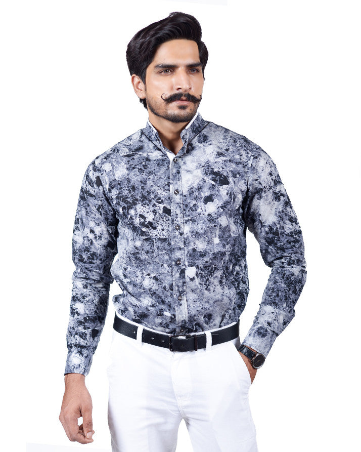 March Grey Marble Finish Button-down Shirt for Men