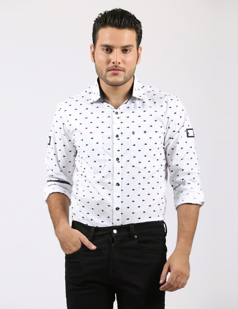 March White Cotton Shirt with Blue Fish for Men