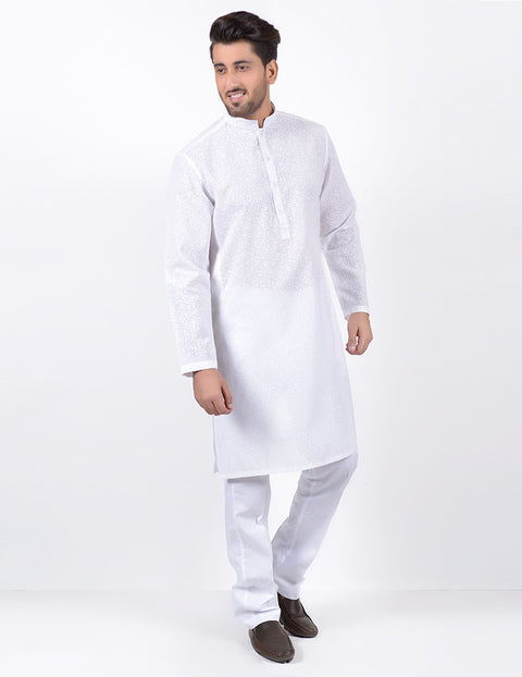 March White Self Pebble Print Kurta W White Pajama for Men