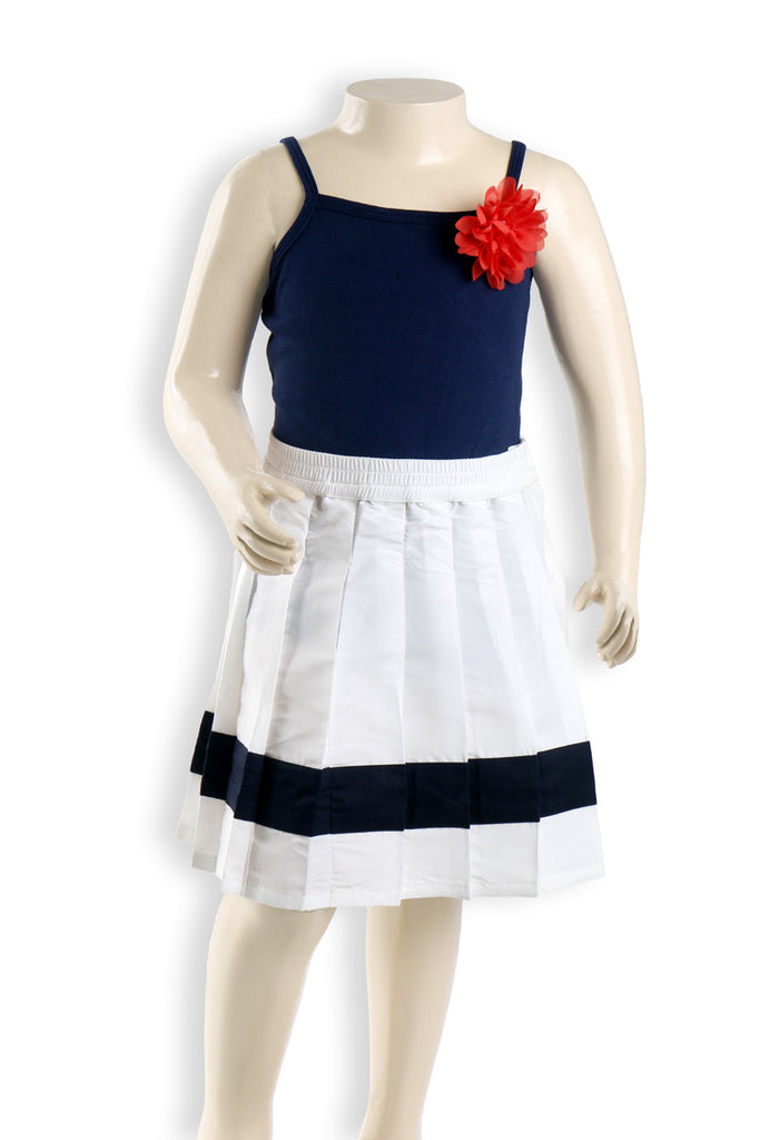 Nurai White Parachute Mid-Length Elasticated Skirt W Blue Patch for Girls