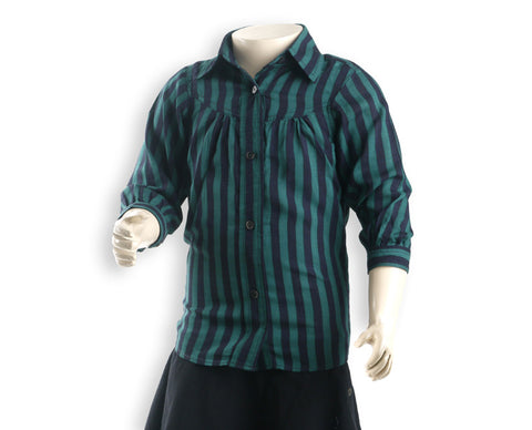 Nurai Soft Cotton Emerald Green & Navy Blue Stripes Button Down Shirt for Girls