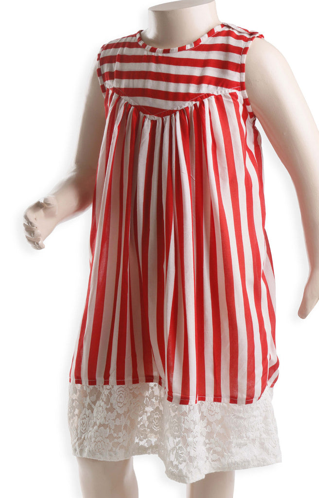 Nurai Red and White Stripe Frock with Cream Net Lace for Girls