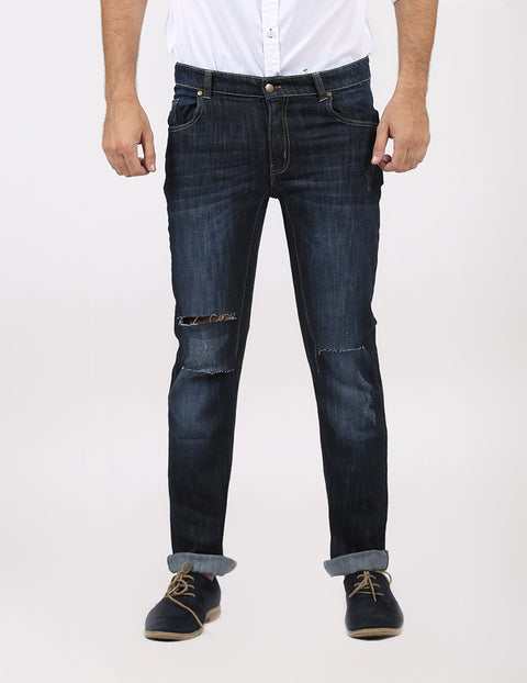 March Dark Blue Indigo Straight Leg Jeans with Minor Abrasions