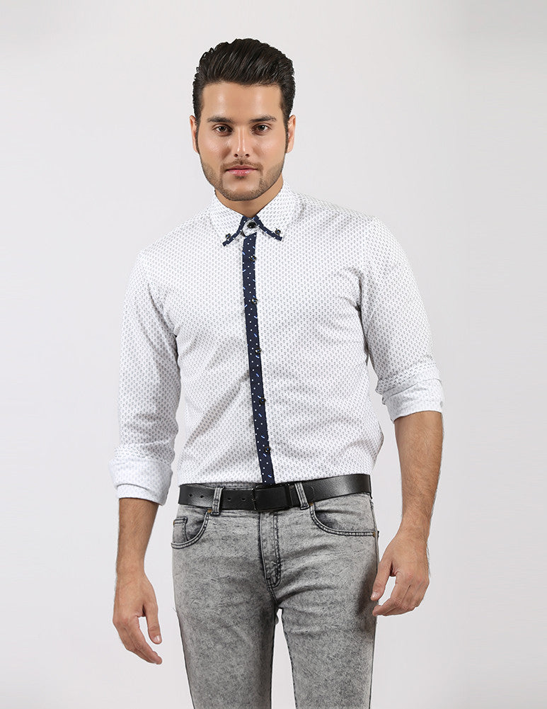 March White Anchor Prints Shirt with Blue Contrasts for Men