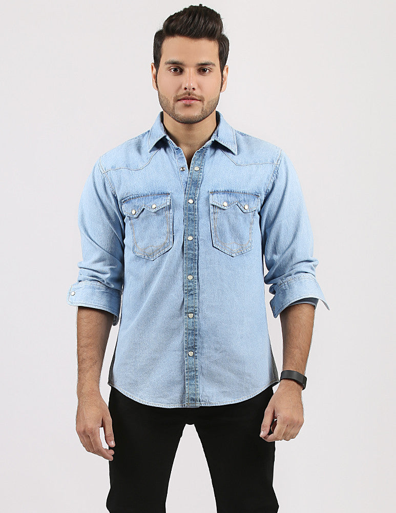 March Ice Blue Denim Shirt with Snap Buttons for Men