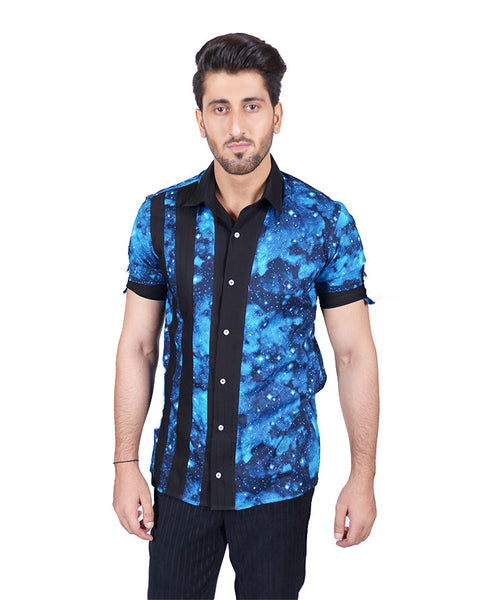 March Blue Galactic Print Half Sleeve Shirt W Black Front Contrast for Men