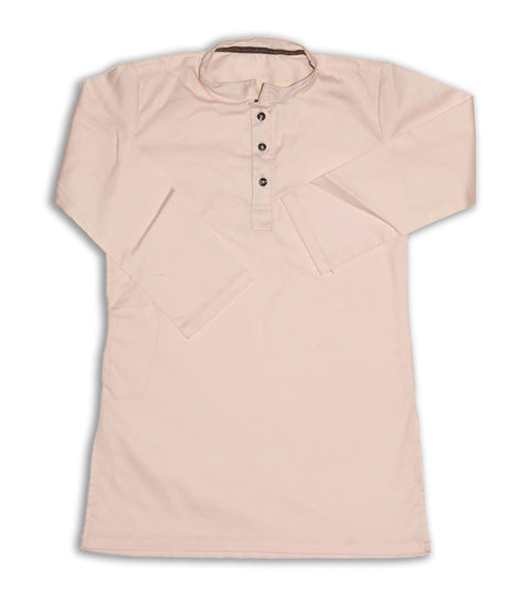 March Baby Pink Stretchable Cotton Kurta for Boys