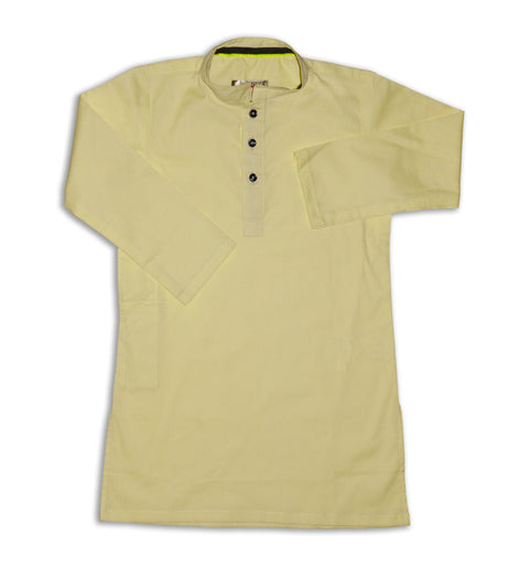 March Lime Green Stretchable Cotton Kurta for Boys