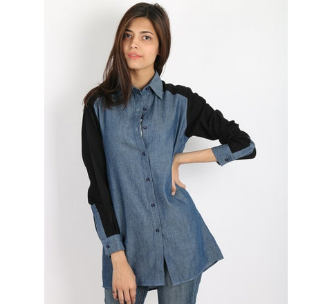 March Medium Blue Denim Shirt W Overdyed Black Sleeves & Yoke for Women