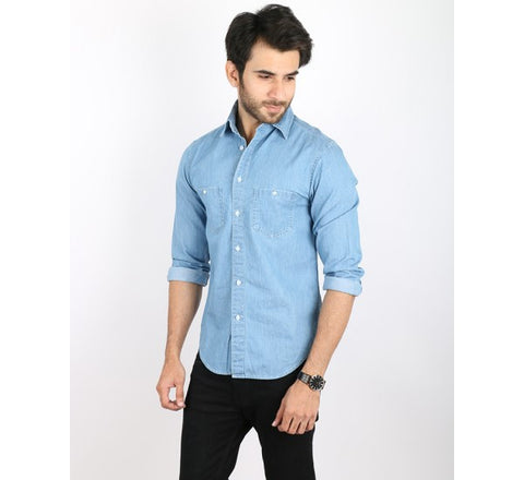 Medium Wash Denim Shirt with Dual Front Pockets for Men