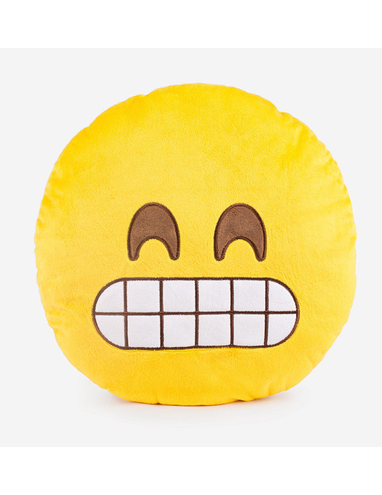 March Teeth Grin Emoji Cushion - Yellow