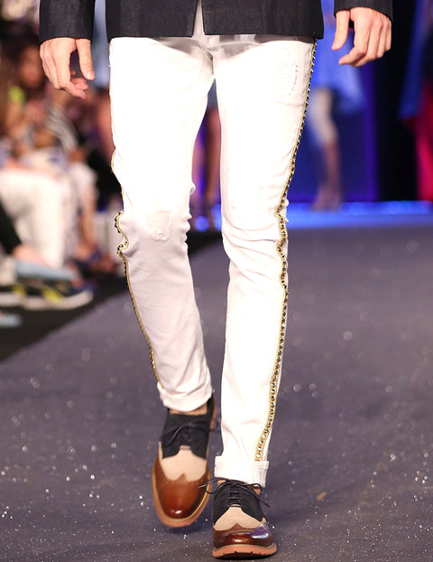 March White Denim Pants with Golden Embellishment Strip For Men