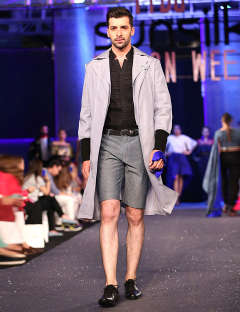 March Denim Gray Toned Doubled Collar Robe Coat For Men