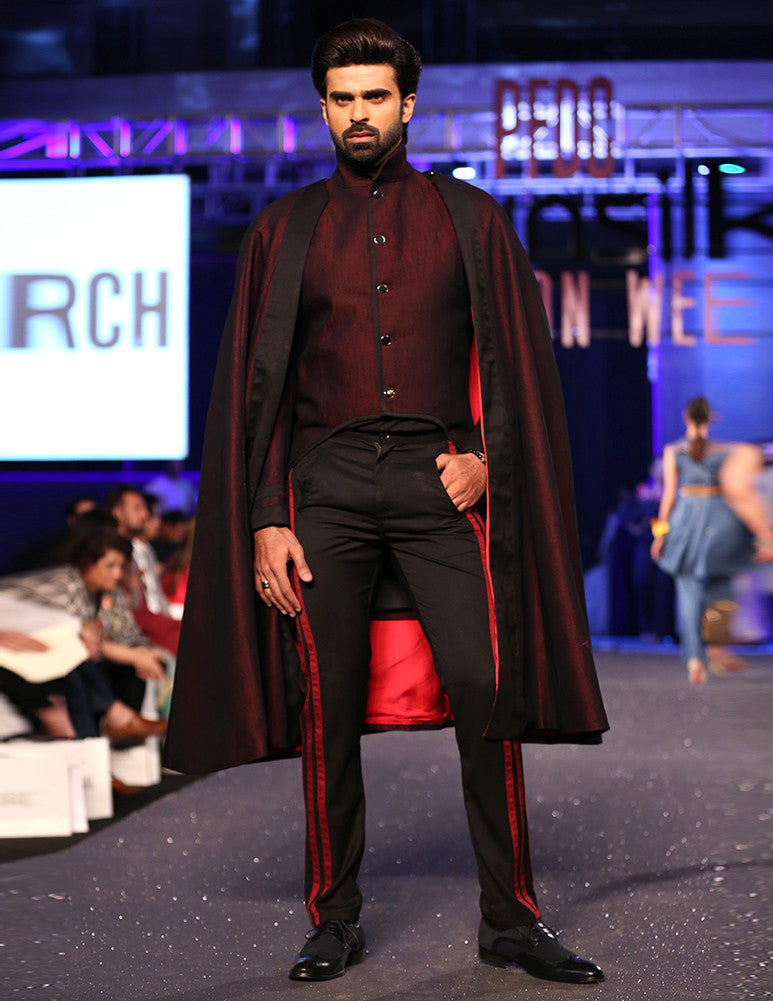 March Red Denim Military Style Coat & Pants with Silk Lined Cape for Men