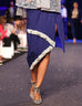 March Ink Blue Denim Embellished Knee Length Front Slit Pencil Skirt With Royal Blue Waist Belt and Lining For Women