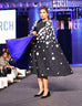 March Navy Blue Denim Crop Top and Skirt With White Floral Embellished Cape for Women