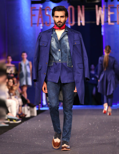 March Ink Blue Denim Trench Coat with Front Pockets and Golden Buttons for Men