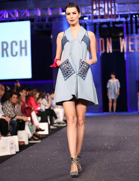 March Ice Blue Denim A-Line Dress with Medium Blue Contrast Grid Pockets for Women
