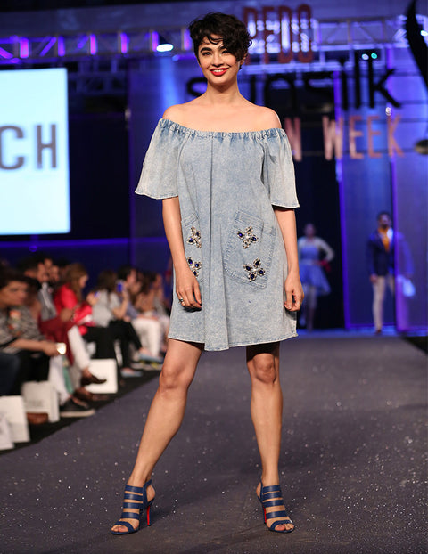 March Ice Blue Denim Over-sized Off-shoulder Dress with Pockets Embellishment for Women
