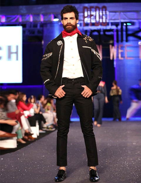 March Black Denim Coat with Gold Embellishments & Black Pants for Men