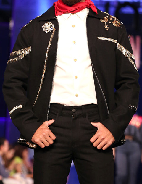 March Gold Embellished Black Denim Coat for Men