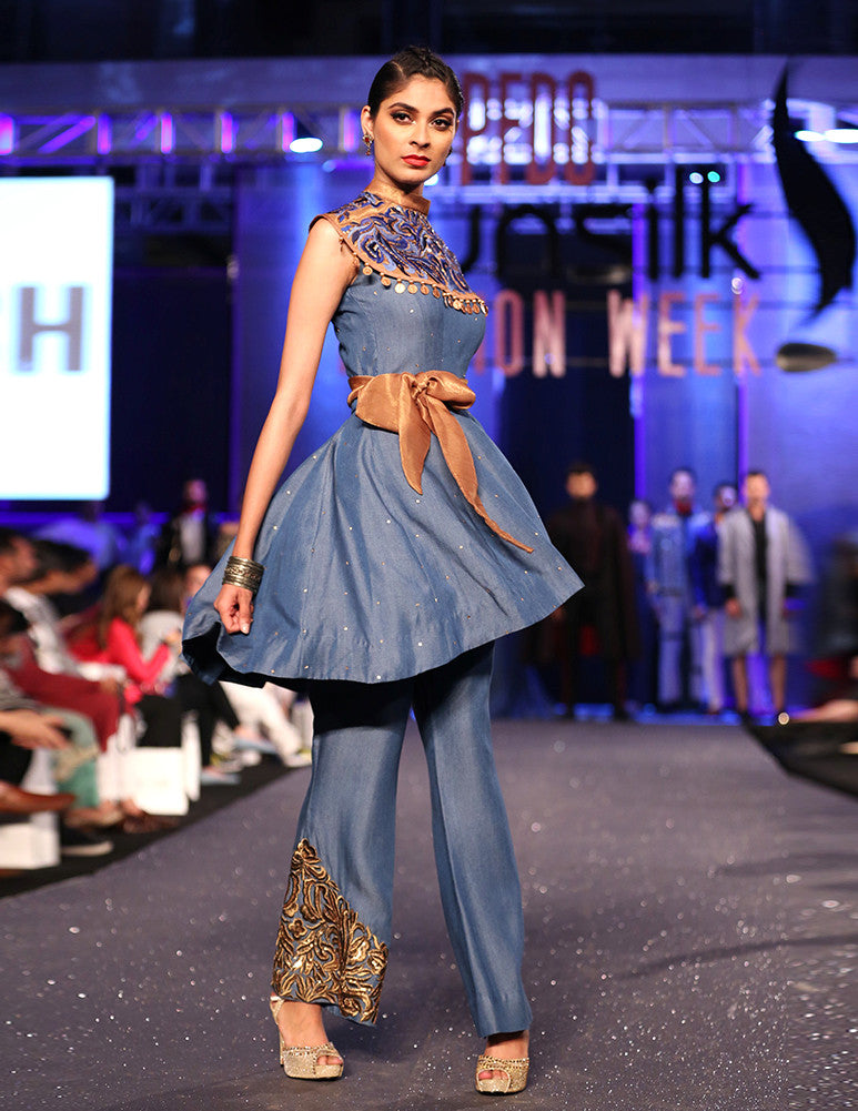 March Medium Blue Denim Flared Peplum Top and Flared Embroidered Pant with Bronze Embellished Cape for Women