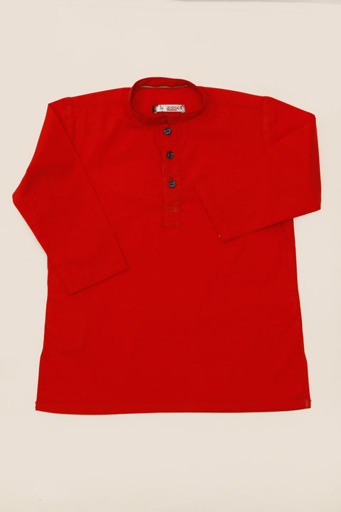 March Ketchup Red Cotton Kurta for Boys